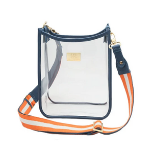Hampton Road Oxford Blue Vinyl Zuma with Orange White Stripe Strap (Mix and Match with any Stripe Strap)