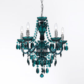 "AF Lighting Chrome Finish 5 Light Fulton Chandelier 23""""H x 21.5""""D - Green"