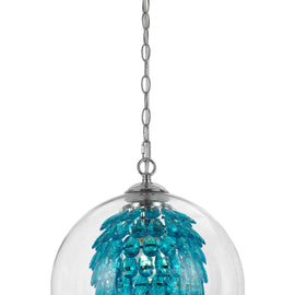 "AF Lighting Cascading Crystals Statement Piece 1 Light Glitzy Chandelier 14""""D - Turquoise"