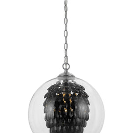 "AF Lighting Cascading Crystals Statement Piece 1 Light Glitzy Chandelier 14""""D - Black"