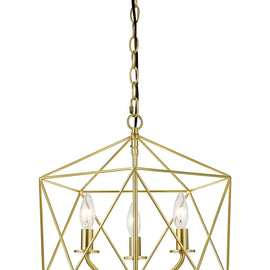 "AF Lighting Modern Minimalist Style 3 Light Bellini Chandelier 16""""W x 17.25""""H - Brushed Gold"