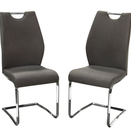 Set of 2 London Dining Chairs in Grey Fabric with Chrome Base