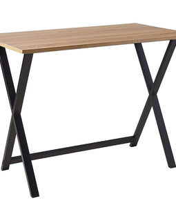Home Office Black Steel Frame Wooden Table Top Desk
