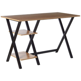 Home Office X-leg Wood/Metal Table Top Writing Desk with 2 Shelves