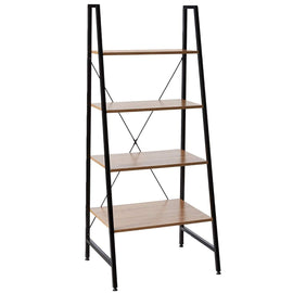 Home Office Black Steel Frame Ladder Bookcase with Wooden Shelves