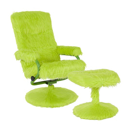 East Side Contemporary Recliner and Ottoman in Citrus Green Fur