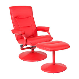 Chelsea Contemporary Recliner and Ottoman in Red Vinyl