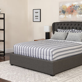 Flash Furniture Barletta Tufted Upholstered Twin Size Platform Bed in Dark Gray Fabric