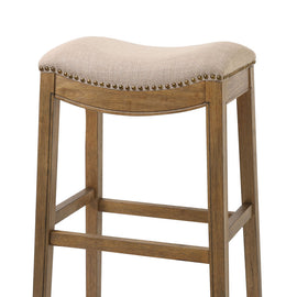 "NADA Home Sadie 30"""" Bar Height Stool with Erin Cream Fabric and Antique Brass Nailhead Accents"