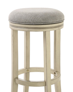 "NADA Home Nina 30"""" Swivel Bar Height Stool with Paradigm Quartz Fabric and Distressed Ivory Finish"