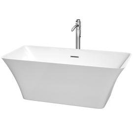 "59"""" Center Drain Soaking Tub in White with Floor Mounted Faucet in Chrome"