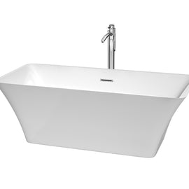 "67"""" Center Drain Soaking Tub in White with Floor Mounted Faucet in Chrome"