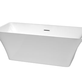 "67"""" Center Drain Soaking Tub in White with Chrome Drain"