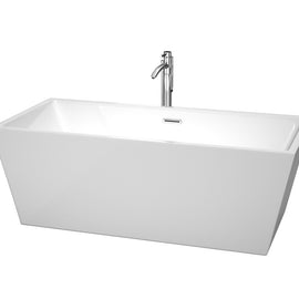 "Wyndham Collection 67"""" Center Drain Soaking Tub in White with Floor Mounted Faucet in Chrome"