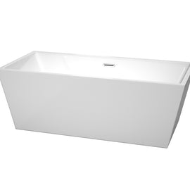 "Wyndham Collection 67"""" Center Drain Soaking Tub in White with Chrome Drain"