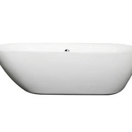"Wyndham Collection 71"""" Center Drain Soaking Tub in White with Chrome Drain"