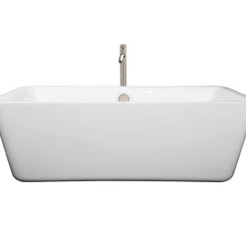 "Wyndham Collection 69"""" Center Drain Soaking Tub in White with Floor Mounted Faucet in Brushed Nickel"