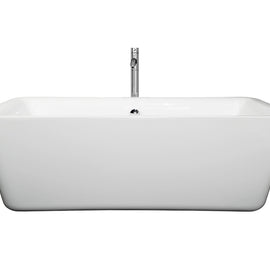 "Wyndham Collection 69"""" Center Drain Soaking Tub in White with Floor Mounted Faucet in Chrome"