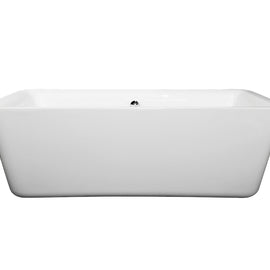 "Wyndham Collection 69"""" Center Drain Soaking Tub in White with Chrome Drain"