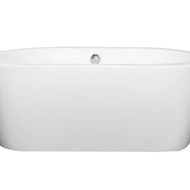 "Wyndham Collection 60"""" Center Drain Soaking Tub in White with Chrome Drain"