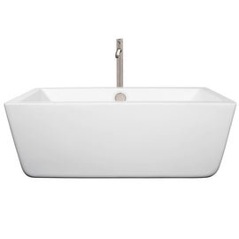 "Wyndham Collection 59"""" Center Drain Soaking Tub in White with Floor Mounted Faucet in Brushed Nickel"