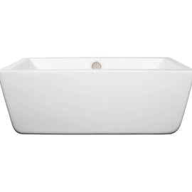 "Wyndham Collection 59"""" Center Drain Soaking Tub in White with Brushed Nickel Drain"