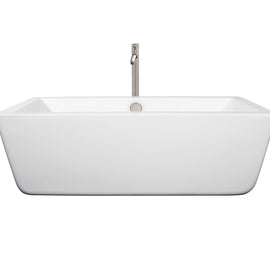 "Wyndham Collection 67"""" Center Drain Soaking Tub in White with Floor Mounted Faucet in Brushed Nickel"