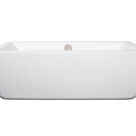 "Wyndham Collection 67"""" Center Drain Soaking Tub in White with Brushed Nickel Drain"