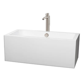 "Wyndham Collection 60"""" Center Drain Soaking Tub in White with Floor Mounted Faucet in Brushed Nickel"