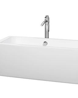 "Wyndham Collection 60"""" Center Drain Soaking Tub in White with Floor Mounted Faucet in Chrome"