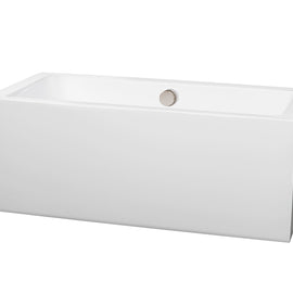 "Wyndham Collection 60"""" Center Drain Soaking Tub in White with Brushed Nickel Drain"