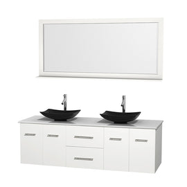 "72"""" Double Bathroom Vanity in White, White Man-Made Stone Countertop, Arista Black Granite Sinks, and 70"""" Mirror"