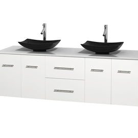 "72"""" Double Bathroom Vanity in White, White Man-Made Stone Countertop, Arista Black Granite Sinks, and No Mirror"