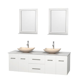 "72"""" Double Bathroom Vanity in White, White Man-Made Stone Countertop, Arista Ivory Marble Sinks, and 24"""" Mirrors"