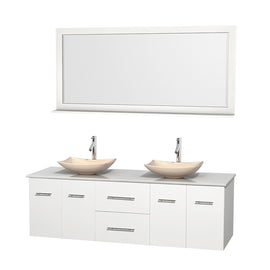 "72"""" Double Bathroom Vanity in White, White Man-Made Stone Countertop, Arista Ivory Marble Sinks, and 70"""" Mirror"