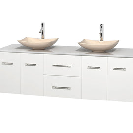 "72"""" Double Bathroom Vanity in White, White Man-Made Stone Countertop, Arista Ivory Marble Sinks, and No Mirror"