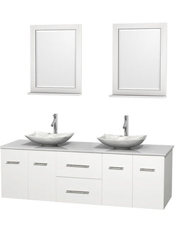 "72"""" Double Bathroom Vanity in White, White Man-Made Stone Countertop, Arista White Carrera Marble Sinks, and 24"""" Mirrors"