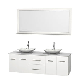 "72"""" Double Bathroom Vanity in White, White Man-Made Stone Countertop, Arista White Carrera Marble Sinks, and 70"""" Mirror"