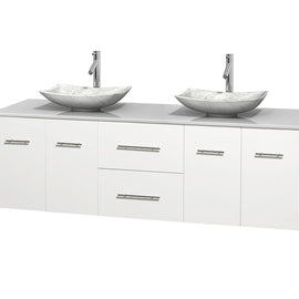 "72"""" Double Bathroom Vanity in White, White Man-Made Stone Countertop, Arista White Carrera Marble Sinks, and No Mirror"