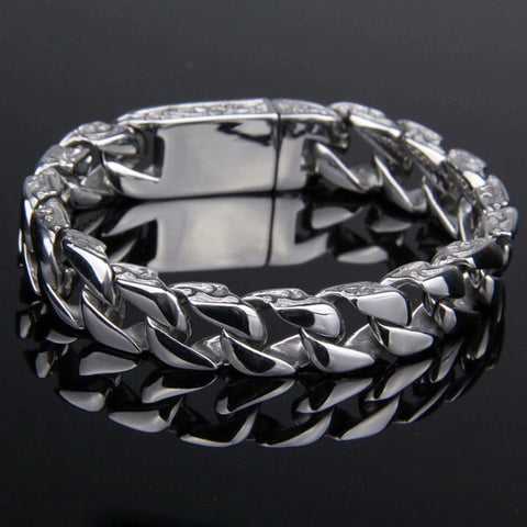 Mens Punk Totem Cuban Chain Steel Buckle