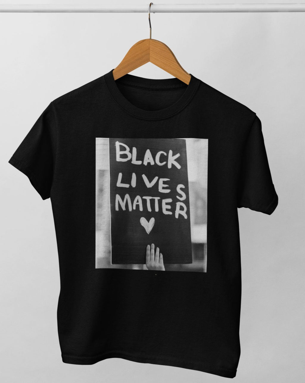 Black Lives Matter adult tee. norm.