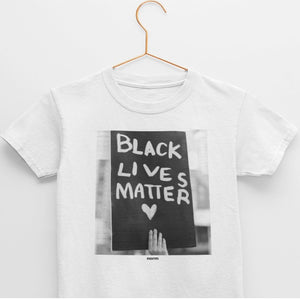 Black Lives Matter youth tee. norm. White S