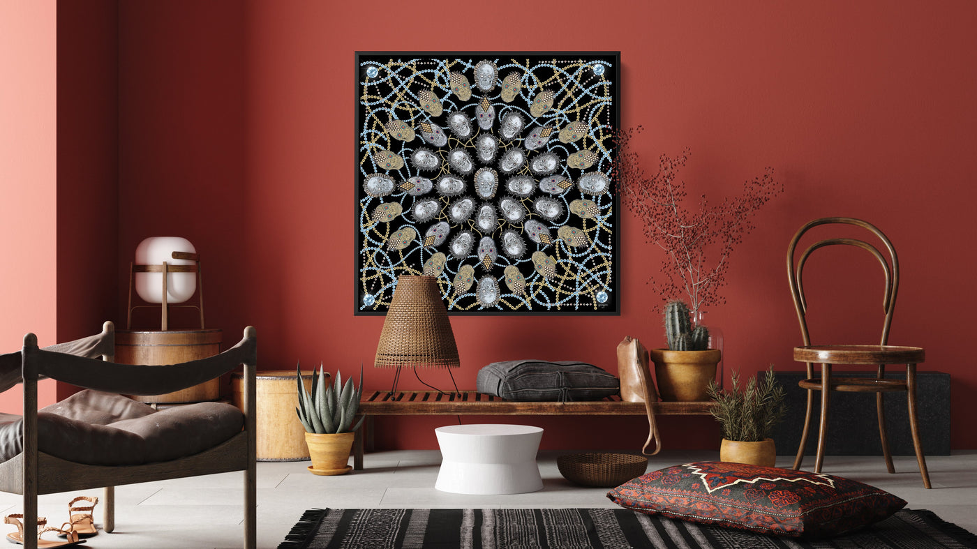 silk-scarf-street-art-london-uberfubs-mocomoco-berlin-interior-edition-scarf-on-canvas-in-wooden-floating-frame-black-hanging-on-a-brown-wall-in-a-living-room-with-furniture