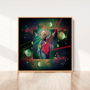 silk-scarf-street-art-rio-de-janeiro-artist-pandronoba-interior-edition-by-mocomoco-berlin-scarf-with-collage-of-samba-dancer-sapretah-dancing-in-the-universe-sewn-on-canvas-and-framed-in-light-wood-floating-frame-standing-on-wall