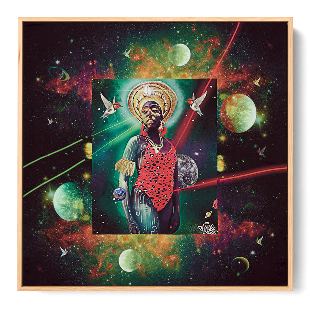 silk-scarf-street-art-rio-de-janeiro-artist-pandronoba-interior-edition-by-mocomoco-berlin-scarf-with-collage-of-samba-dancer-sapretah-dancing-in-the-universe-sewn-on-canvas-and-framed-in-light-wood-floating-frame