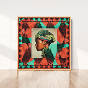 silk-scarf-street-art-buenos-aires-artist-mabel-vicentef-interior-edition-by-mocomoco-berlin-scarf-sewn-on-canvas-and-framed-in-light-floating-frame-standing-on-a-wall