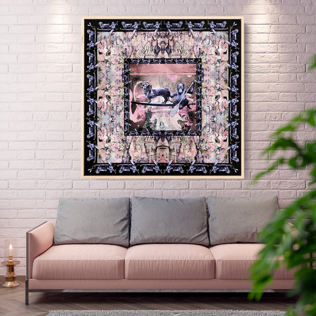 silk-scarf-street-art-berlin-cazl-mocomoco-berlin-interior-edition-scarf-on-canvas-in-floating-frame-light-wood-hanging-in-a-living-room