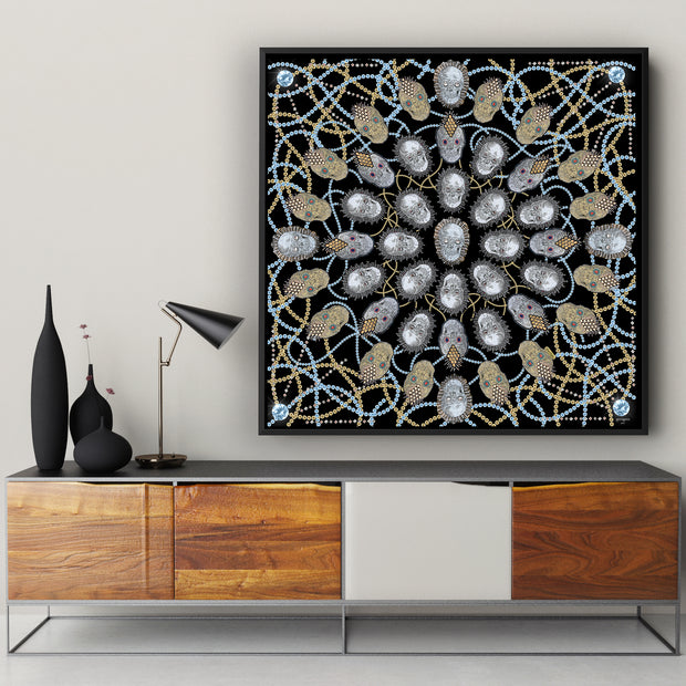 silk-scarf-street-art-london-artist-uberfubs-interior-edition-by-mocomoco-berlin-scarf-sewn-on-canvas-and-framed-in-black-wood-floating-frame-hanging-in-a-living-room