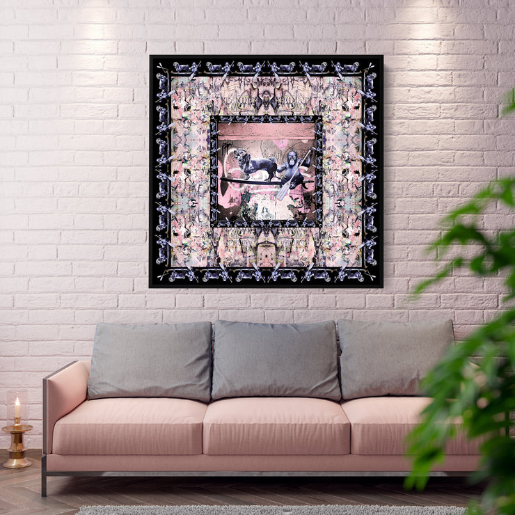 silk-scarf-street-art-berlin-artist-cazl-interior-edition-by-mocomoco-berlin-scarf-sewn-on-canvas-and-framed-in-floating-frame-light-wood-hanging-in-a-living-room