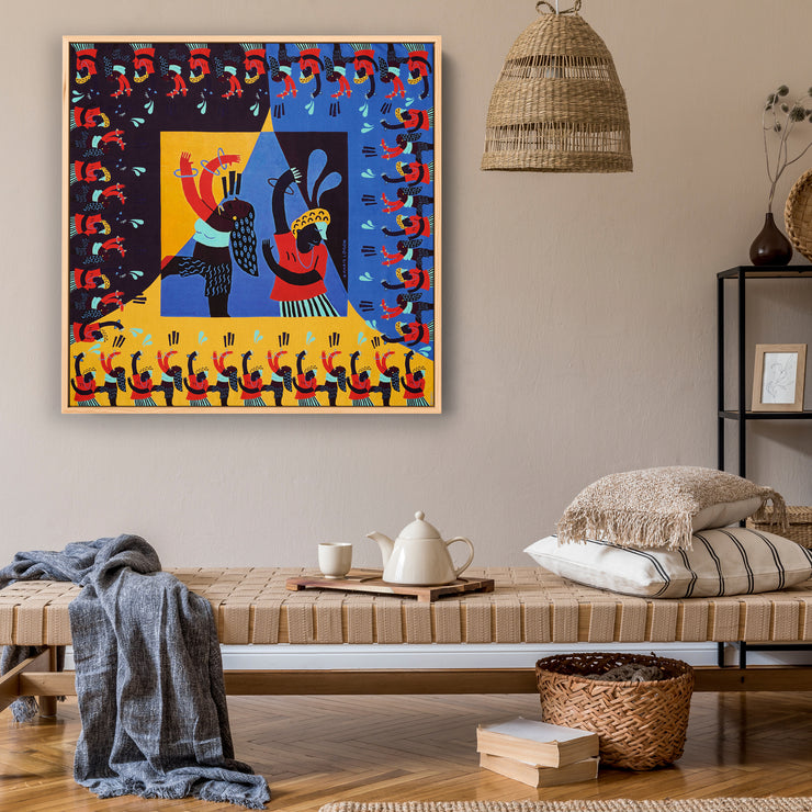 streetart-silk-scarf-street-art-barcelona-artist-anais-loison-interior-edition-by-mocomoco-berlin-scarf-sewn-on-canvas-and-framed-in-light-floating-frame-hanging-in-living-room